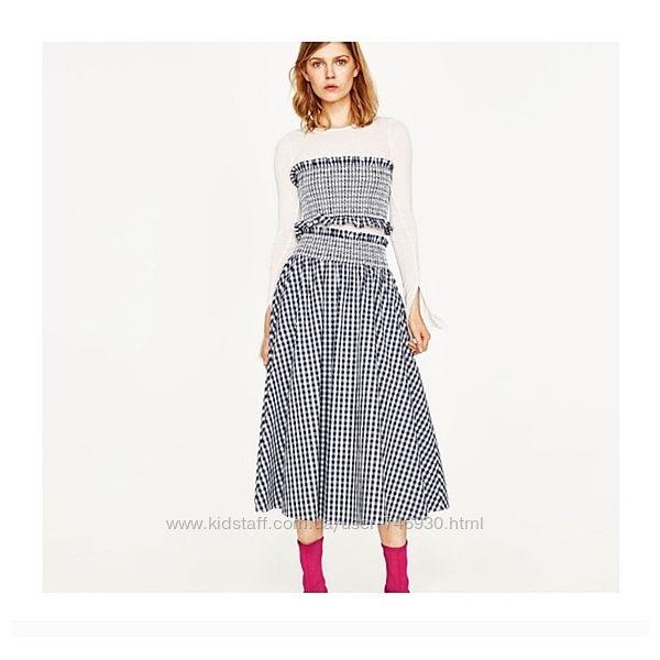 Zara юбка клетка как у блогеров л-хл