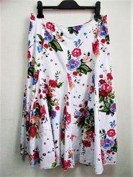 Летняя юбка в цветочный принт M&S с вышивкой гладью л-хл Per Una