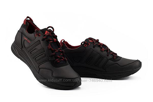 Мужские кроссовки кожаные весна/осень черные мужские кроссовки
