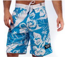 Пляжные шорты Abercrombie & Fitch бело-голубые цветы