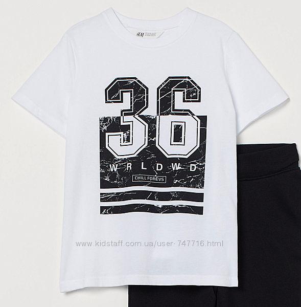 Стильная футболка на парня принт H&M
