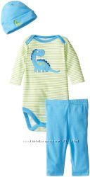 Комплект Gerber 3 ед. бодик, штаны, шапка Динозаврик Гоша р. 6-9М