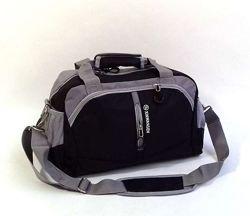 Дорожная сумка - ручная кладь, черная с серыми вставками