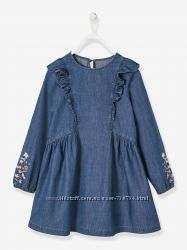 Платье из джинсовой ткани с вышивкой, Vertbaudet , Франция, оригинал