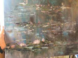 Картина маслом водные лилии 40х50