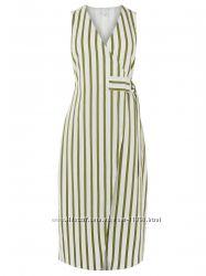 Очаровательное полосатое платье на запах от warehouse, размер 12uk