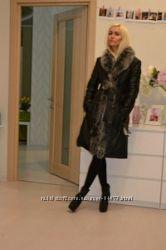 Срочно Кожанное натуральное теплое пальто