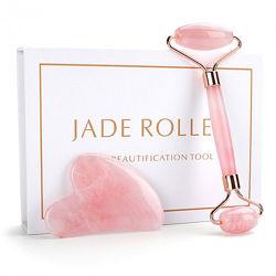 Набор для массажа из натурального розового кварца Jade Roller