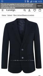 Пиджак школьный GEORGE размер 16-17, на рост 176-179см.