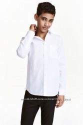 Белая рубашка с длинным рукавом H&M, 158см. На стройного мальчика.