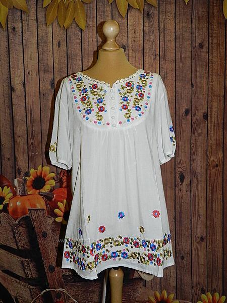 Распродажа  Вышитые блузки-туники из штапеля
