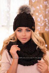 Комплект шапка и снуд Braxton, новое, черный