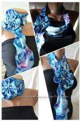 Стильный аксессуар - шарфик-цветок с кристаллом