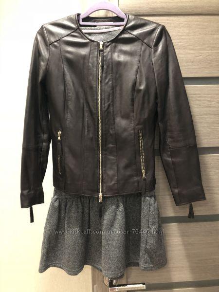 Фирменная кожаная куртка Mango
