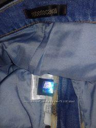 roberto cavalli бриджи джинсовые с камнями и бусами