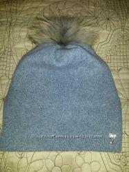 шапка Leks на флисе, помпон енот, новая коллекция