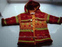 Куртка теплая  для девочки, шерсть, на флисе, с капюшоном, 6-18,  86 см