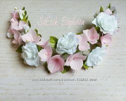 Веточка в прическу с цветами.