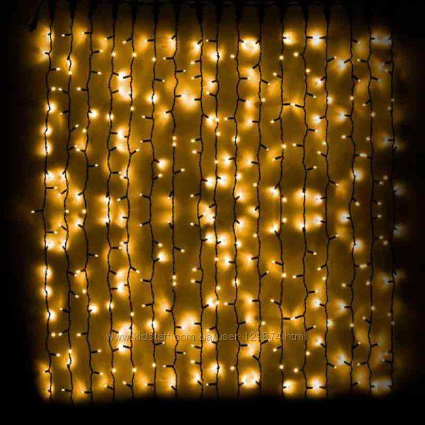 Срочно Шикарный световой дождь  DELUX Curtain 456LED желтыйчерный
