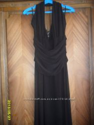 Вечернее черное длинное трикотажное платье с открытой спиной Польща