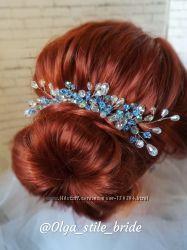 Украшения  из хрусталя для волос, серьги и веточки в прическу под заказ.