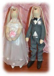 Пара свадебных зайчиков в стиле Тильда