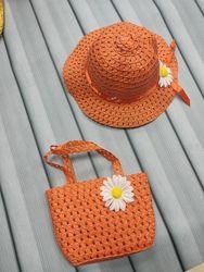 Шляпа панамка и сумочка для девочки