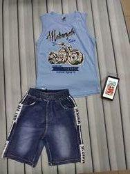 Майка и джинсовые шорты для мальчика