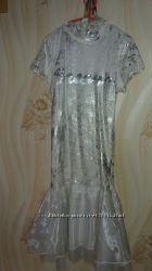 Платье Puledro с поясом и перчатки  рост 164