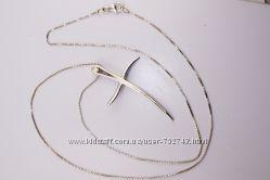 Золотая цепочка с крестиком белое золото 750 пробы, производитель Италия