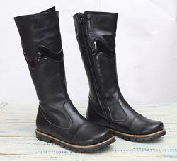 Зимние теплые кожаные сапоги для девочки. Tiranitos