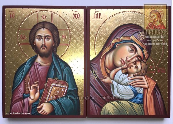 Венчальные рукописные иконы Сладкое Лобзание и Вседержитель 18х24 в наличии