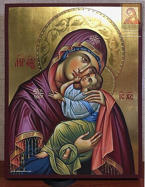 Икона Божией Матери Сладкое Лобзание рукописная в наличии 24х30 см
