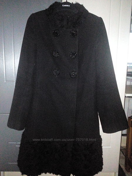 Красивое чёрное демисезонное кашемировое пальто Samangе 44р