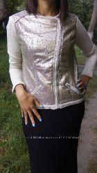 Интересный пиджак-косуха с паетками тсм тchibo германия 42европ 38европ