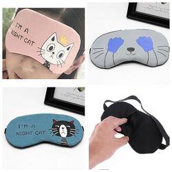 Удобная мягкая маска для сна повязка на глаза Котик