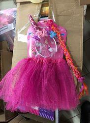 Костюм юбка единорог обруч косичка  розовый и желтый