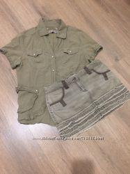 Рубашка и юбка цвета хаки