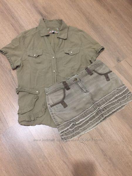 Набор Рубашка и юбка цвета хаки