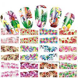 Слайдеры переводки для дизайна ногтей, наклейки для маникюра 500 видов