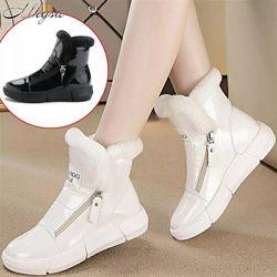 Зимние женские лаковые ботинки