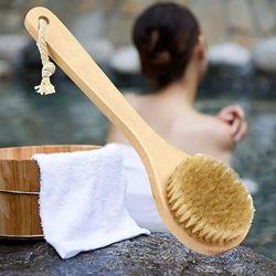 Массажная щётка для тела с натуральным ворсом, щётка для сухого массажа