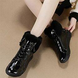 Зимние женские лаковые ботинки натуральный мех