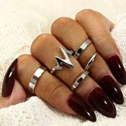 Набор колец на пальцы и фаланги 5 шт, фаланговые кольца серебро