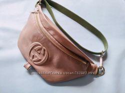 Бананка кожаная  Gucci, поясная сумка натуральная кожа барсетка НЬЮАНС
