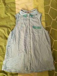 Рубашка блузка голубая H&M 10-11 лет, рост 146 см