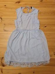 Платье с открытой спиной голубое С-ка, М-ка 10-ка