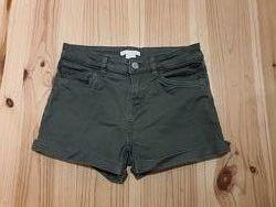Шорты размер 32, 10-12 лет, джинсовые зеленые рост 155 см, фирма- H&M