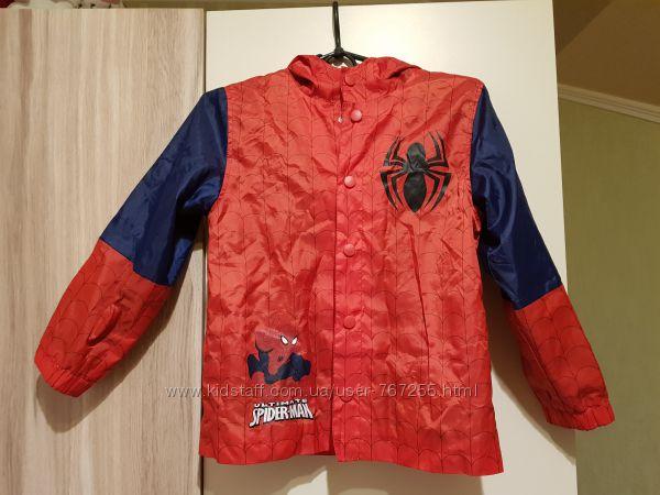 Куртка ветровка с капюшоном, размер 7-8 лет, человек паук