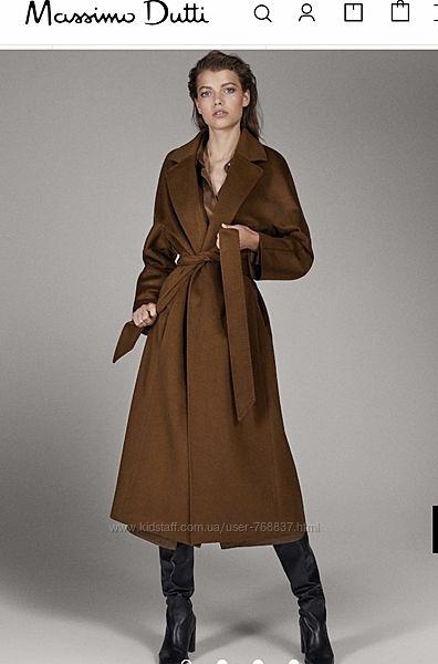 Новое шикарное шерстяное пальто Massimo Dutti, М-L